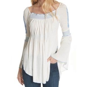 Free People Valley Embroidered Bell Sleeve Top